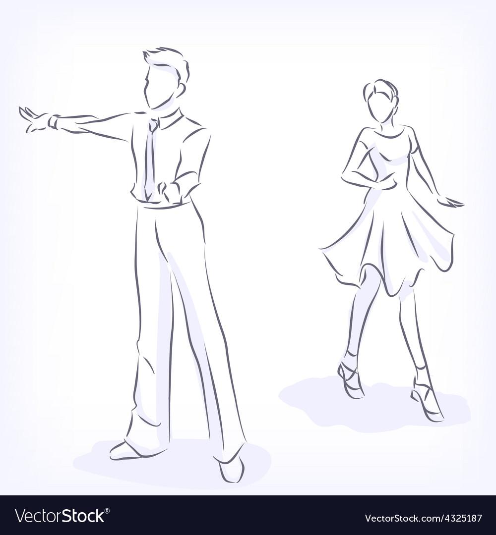 Couple dances latin fast ballroom dances vector | Price: 1 Credit (USD $1)