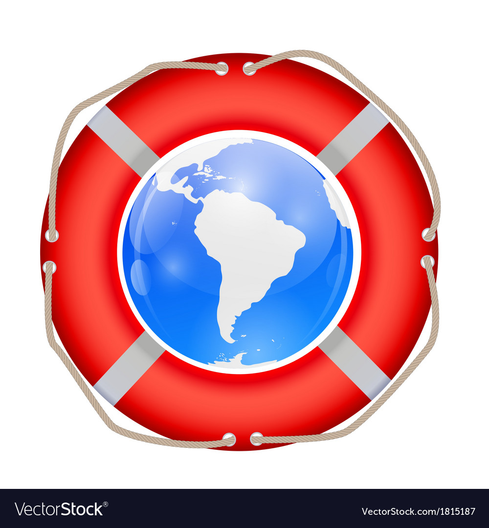 Globe in lifebuoy vector | Price: 1 Credit (USD $1)