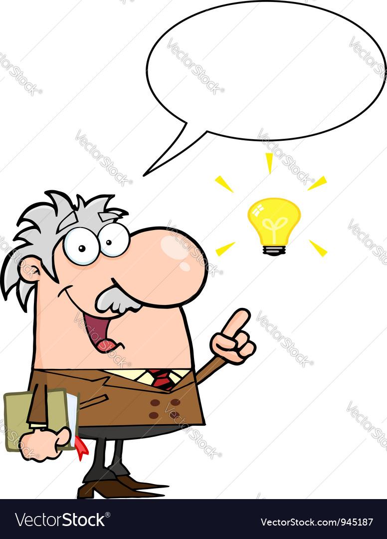 Happy professor talking about a bright idea vector | Price: 3 Credit (USD $3)