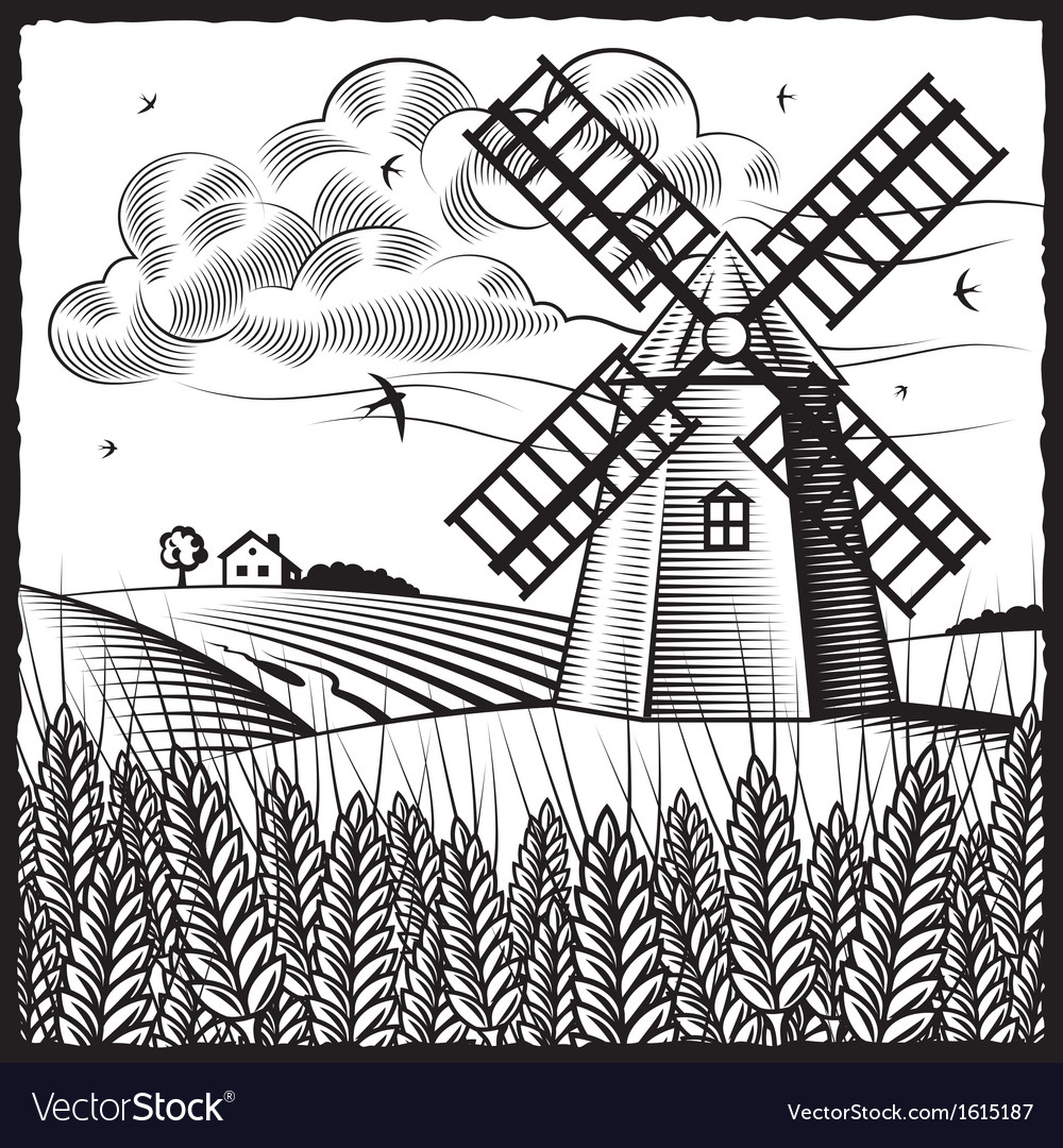 Landscape with windmill black and white vector | Price: 1 Credit (USD $1)