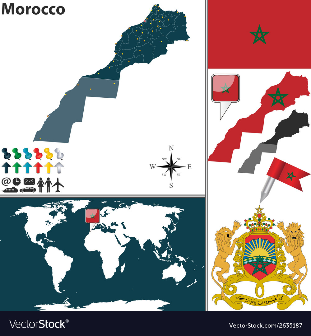 Morocco map world vector | Price: 1 Credit (USD $1)