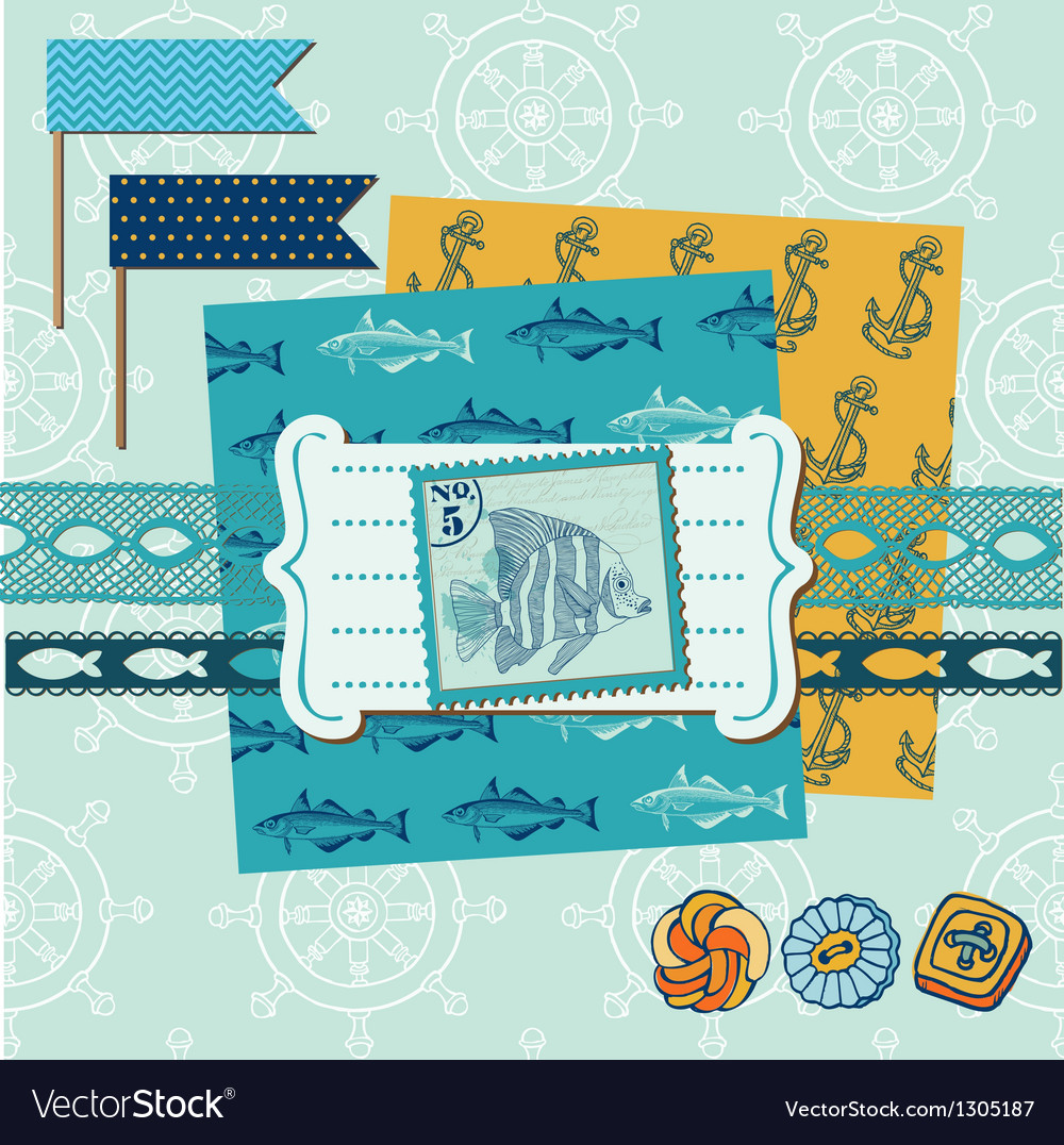 Nautical sea theme vector | Price: 1 Credit (USD $1)