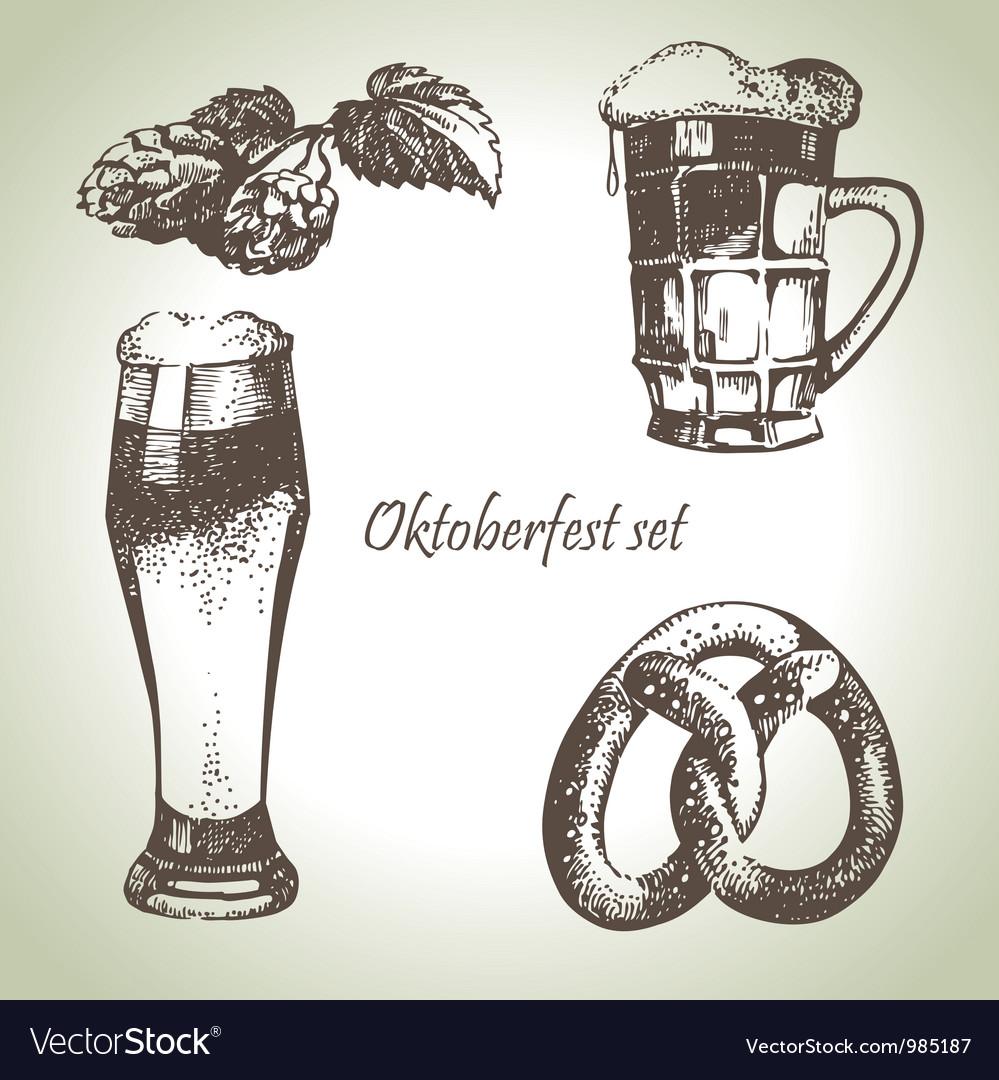 Oktoberfest set of beer hops and pretzel vector | Price: 1 Credit (USD $1)