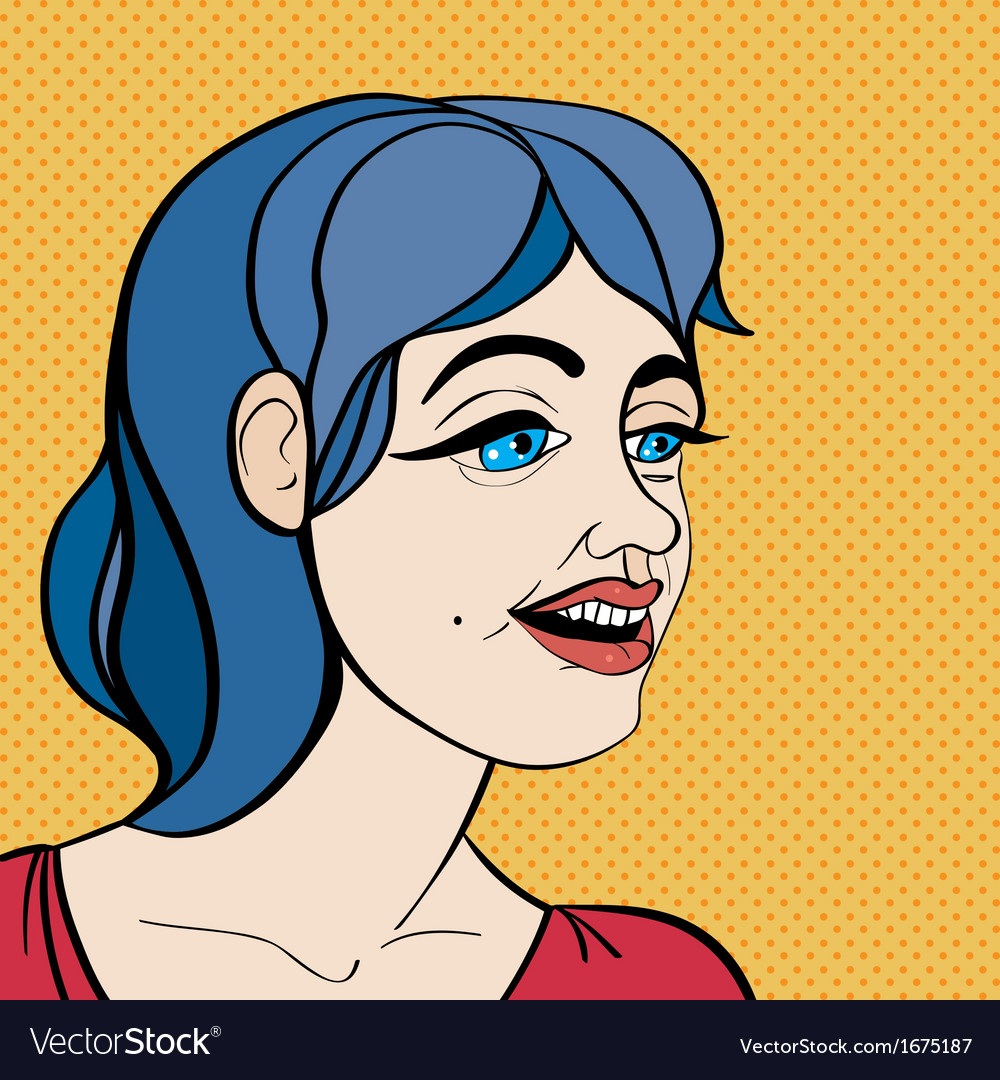 Pop art blue hair girl vector | Price: 1 Credit (USD $1)