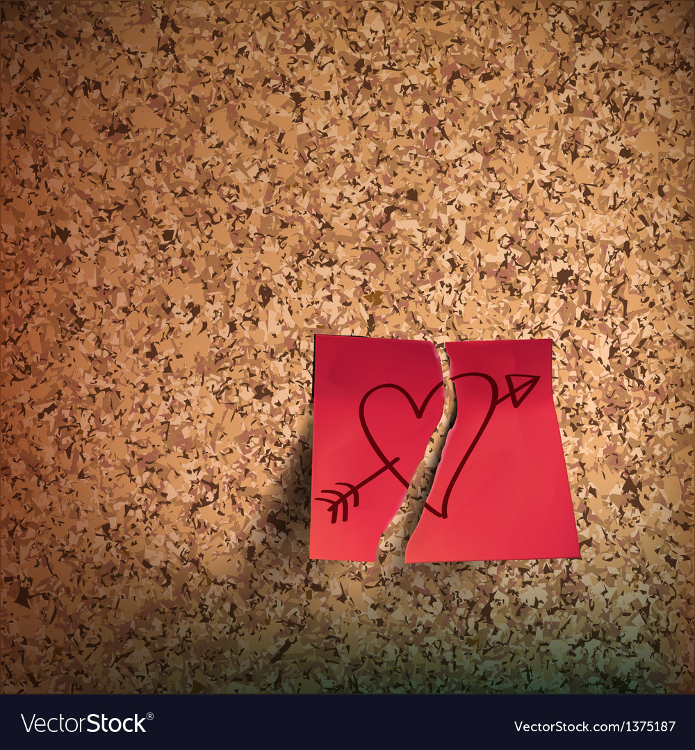 Red sticky note with heart sketched on cork board vector | Price: 1 Credit (USD $1)