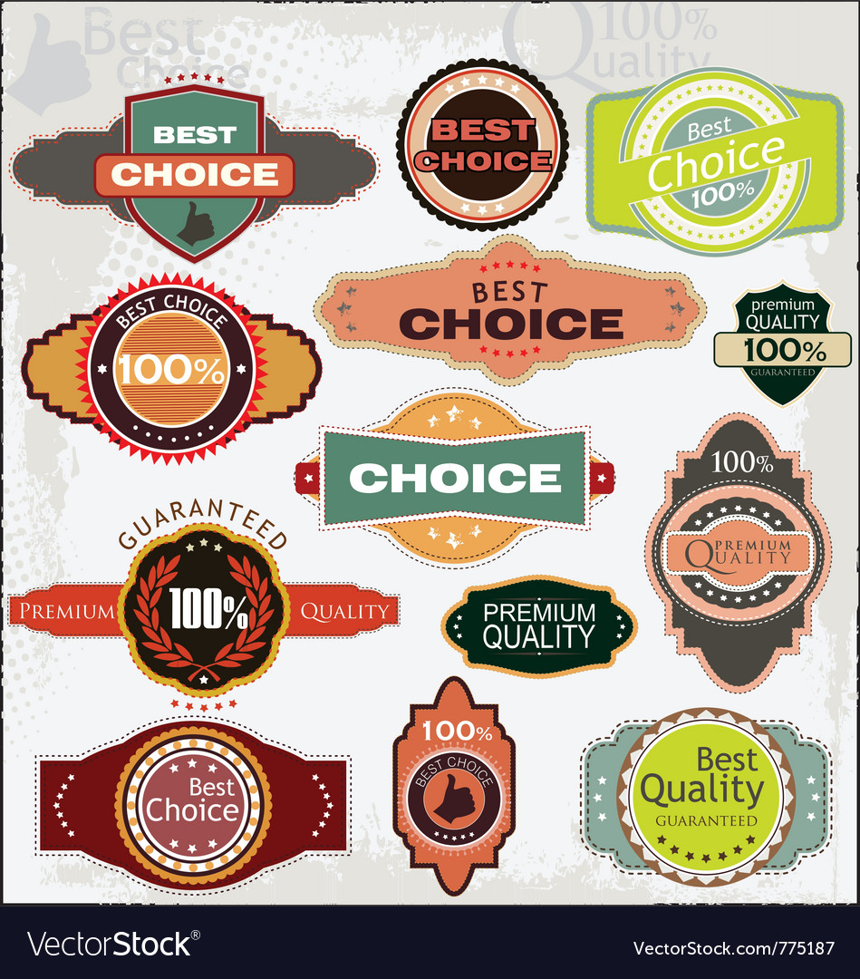 Retro quality labels vector | Price: 1 Credit (USD $1)