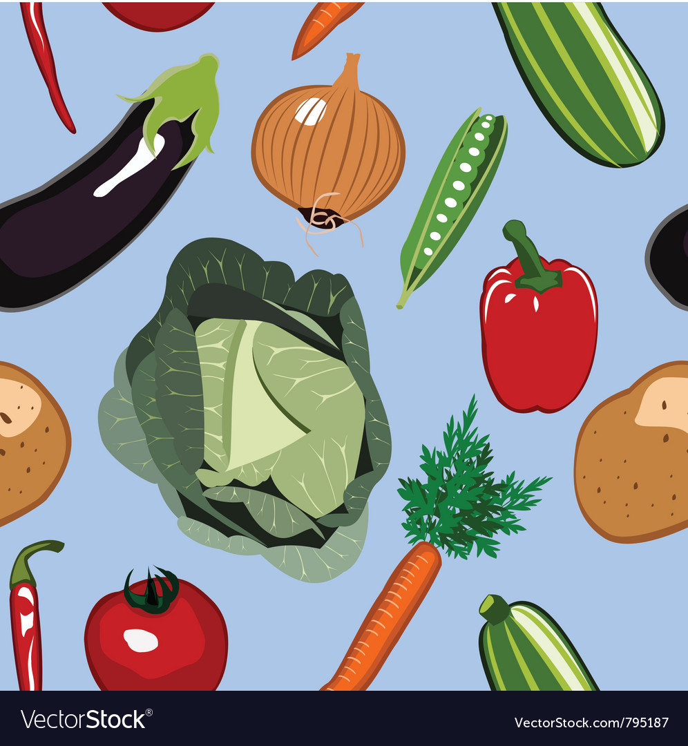 Seamless vegetables background vector | Price: 1 Credit (USD $1)