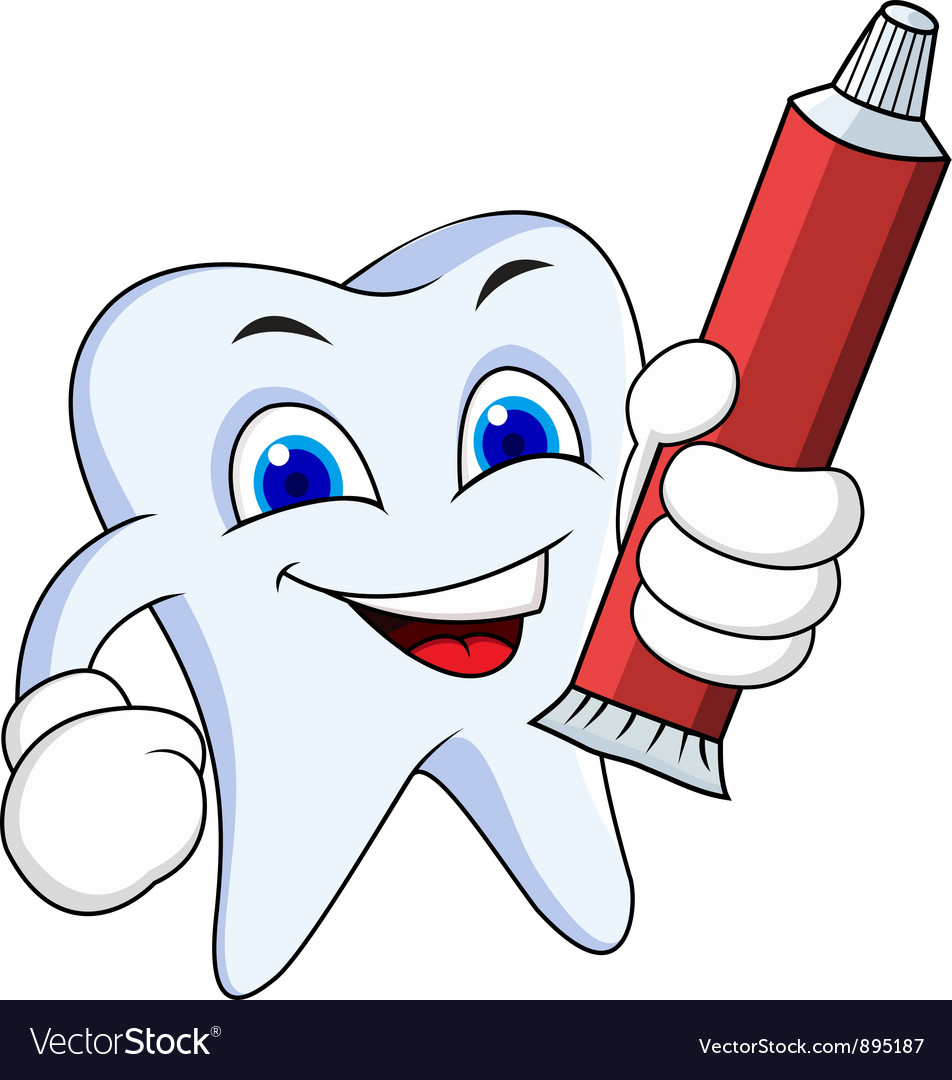 Tooth cartoon with tooth paste vector | Price: 3 Credit (USD $3)
