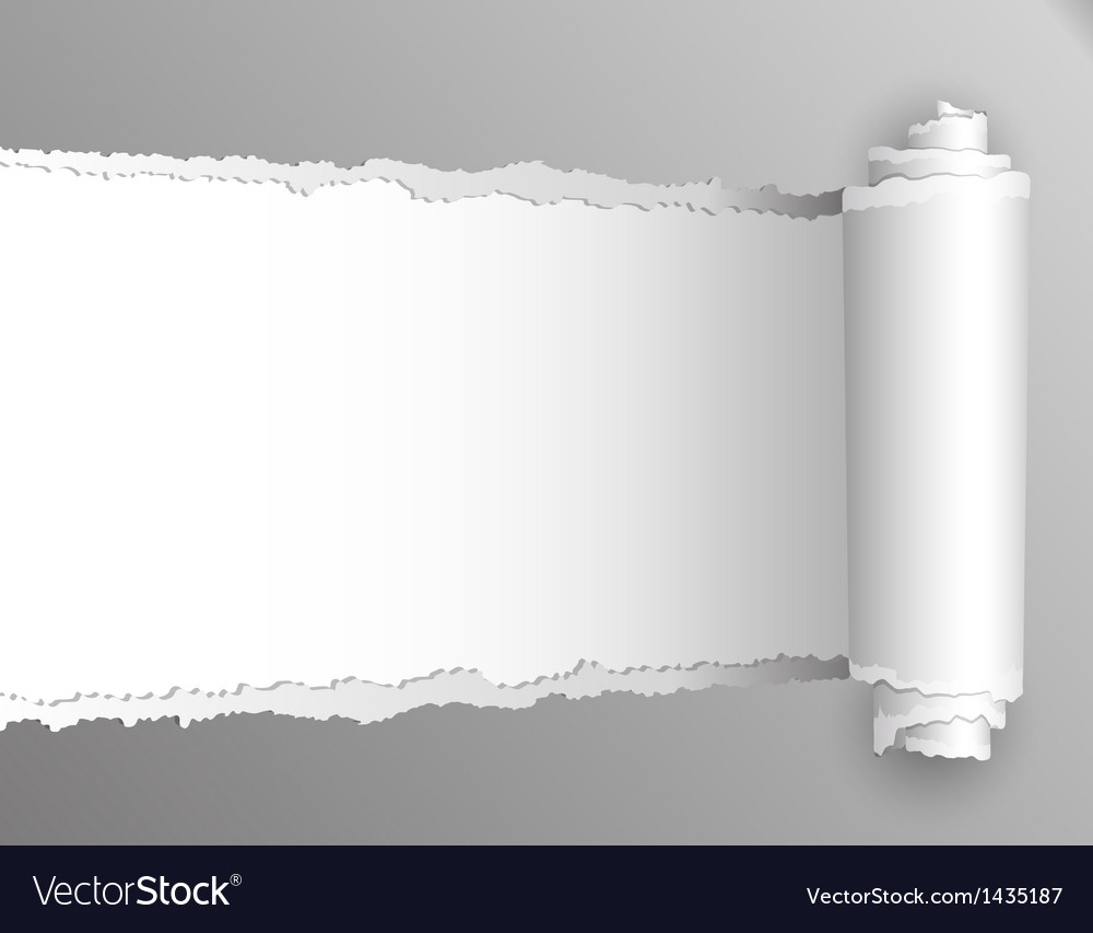 Torn paper with opening showing white background vector