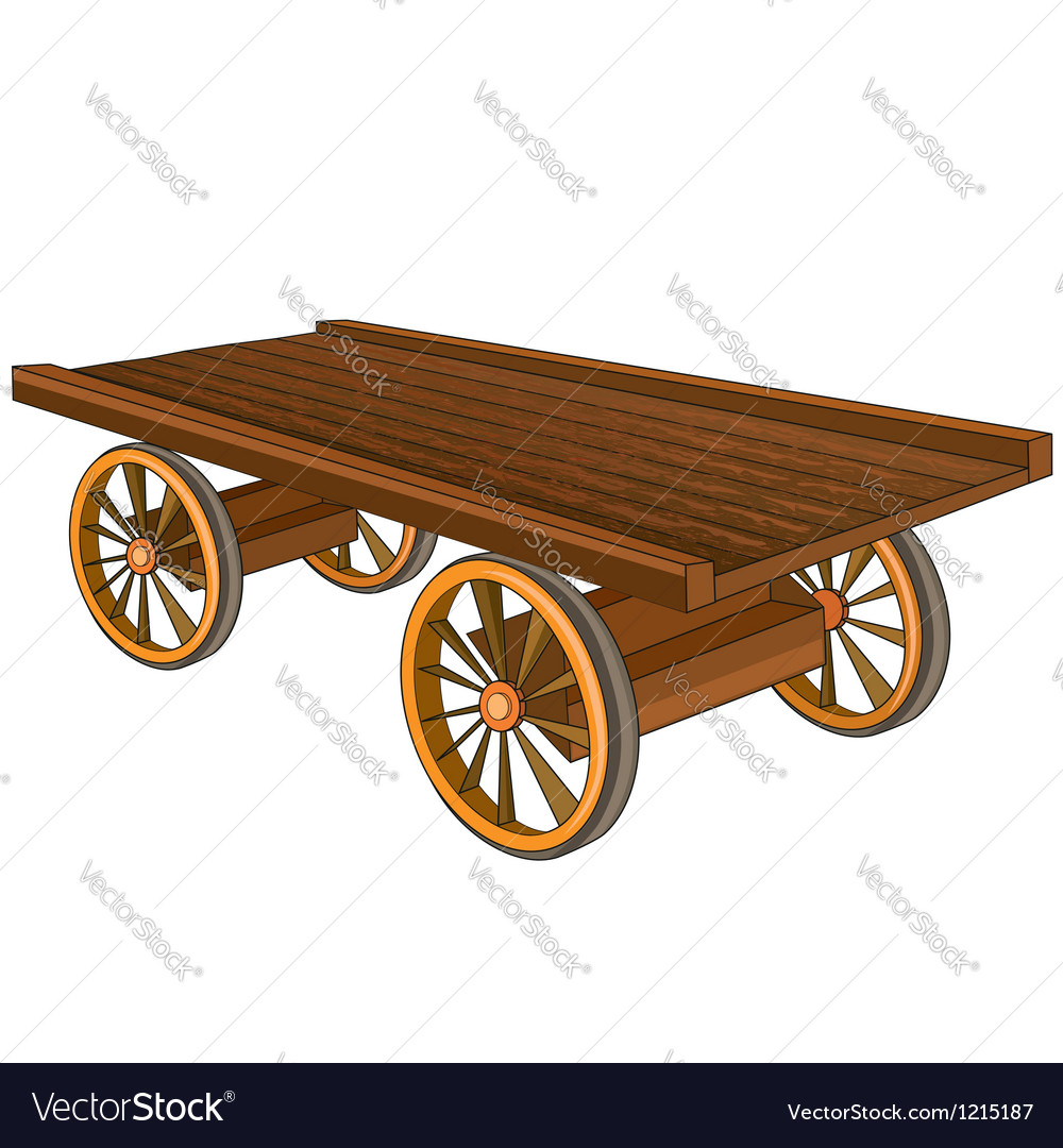 Vintage wooden cart isolated vector | Price: 3 Credit (USD $3)