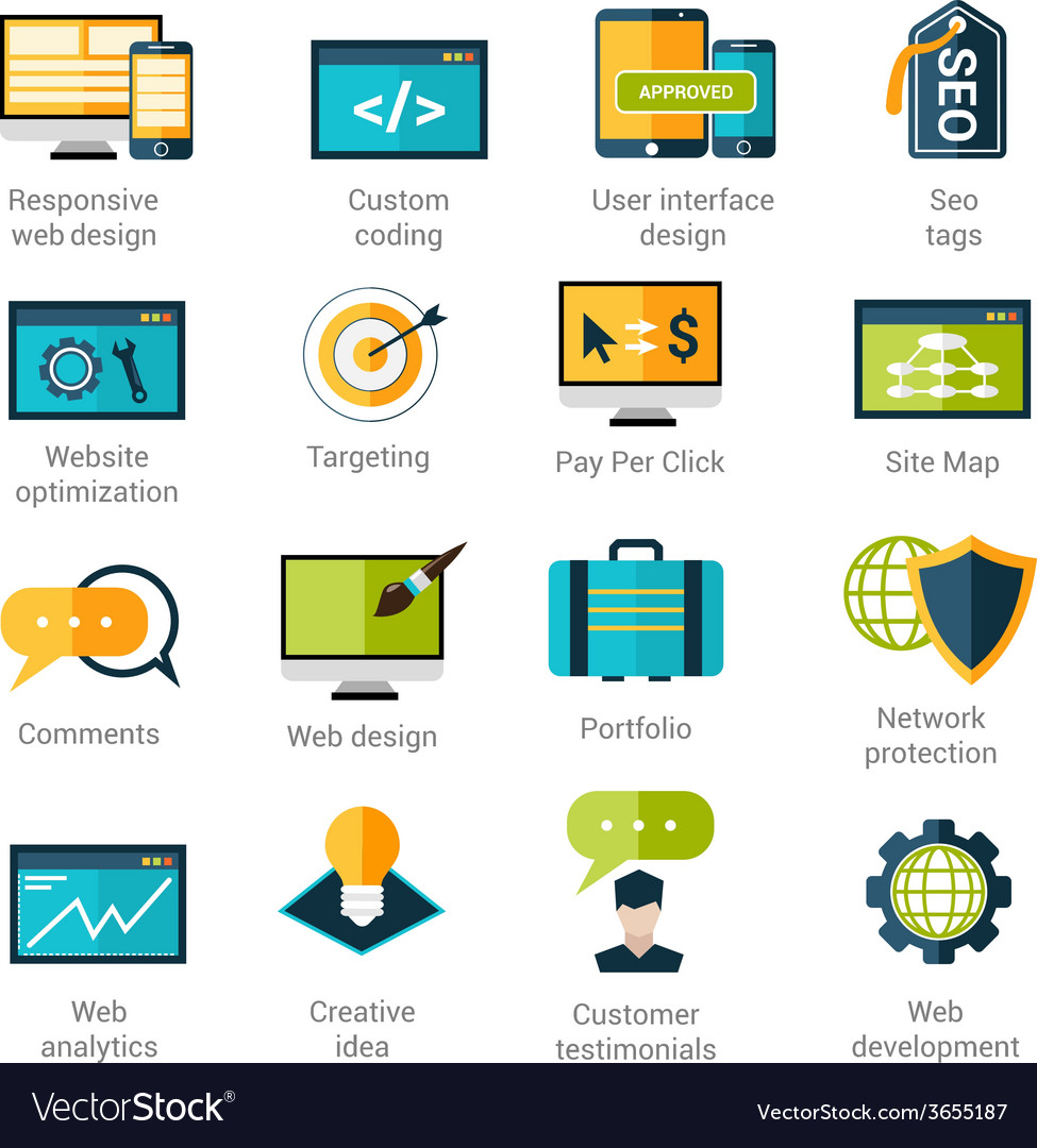 Web development icons set vector | Price: 1 Credit (USD $1)