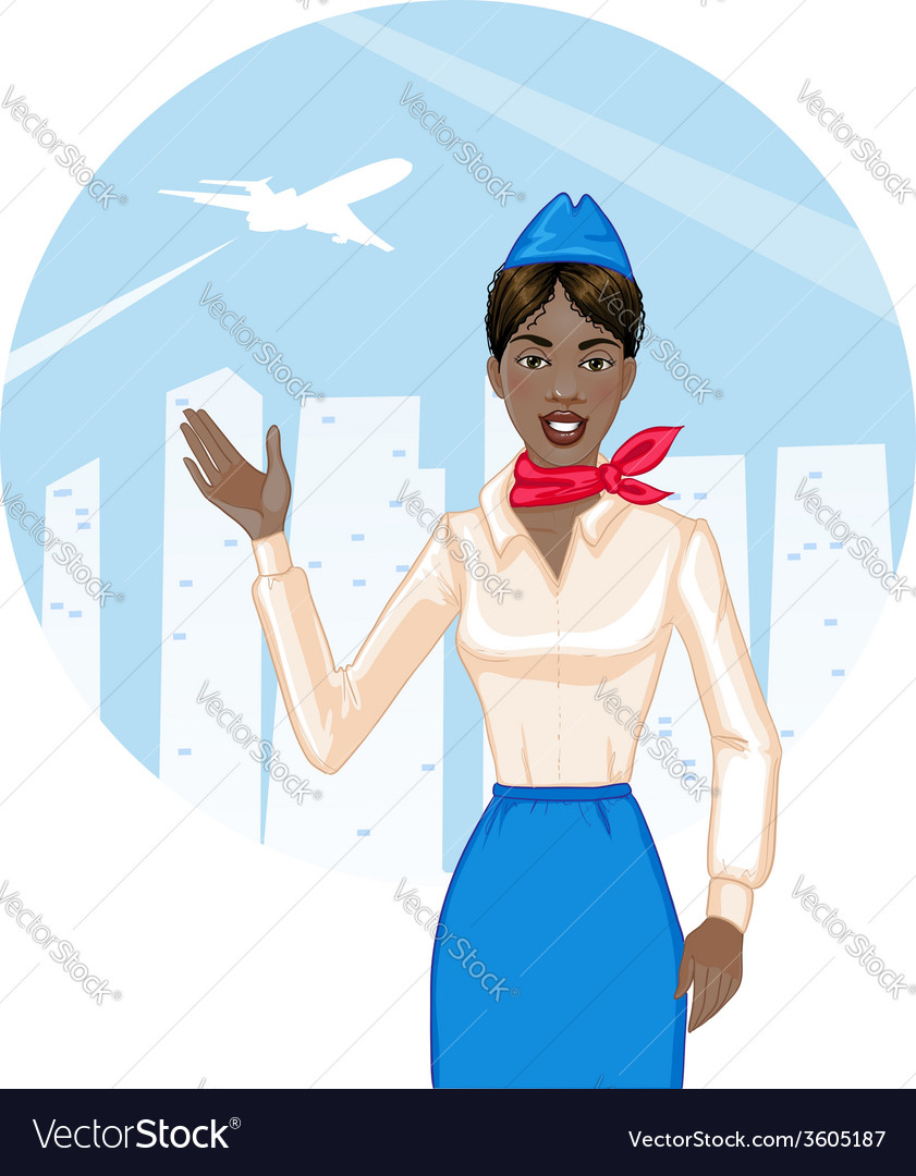 Young cheerful african american stewardess eps10 vector   Price: 3 Credit (USD $3)