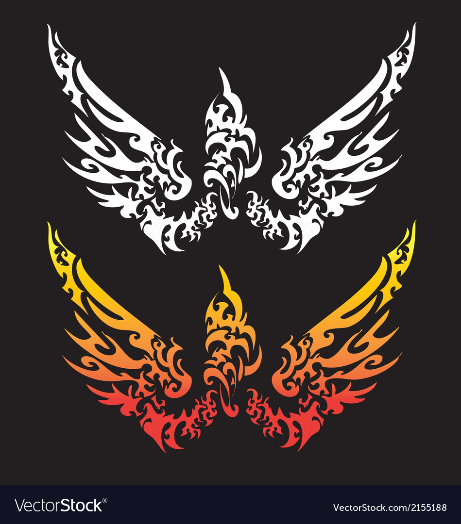 Angle wing for tattoo design vector | Price: 1 Credit (USD $1)