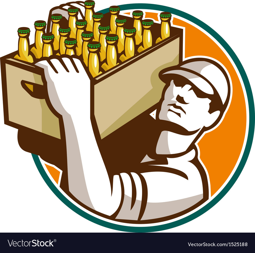 Bartender carrying beer case retro vector | Price: 1 Credit (USD $1)