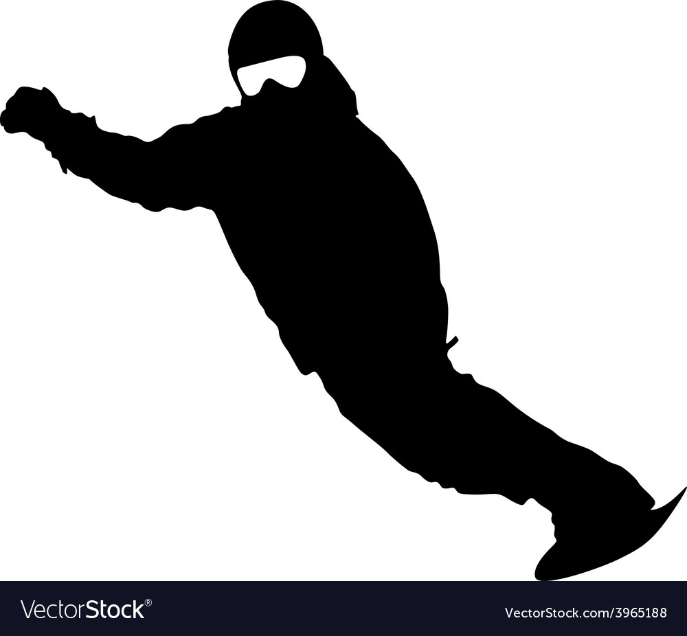 Black silhouette snowboarder on white background vector | Price: 1 Credit (USD $1)