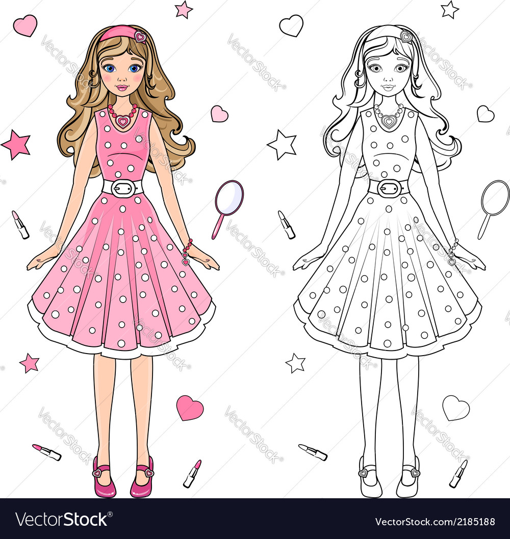 Coloring book doll vector | Price: 1 Credit (USD $1)