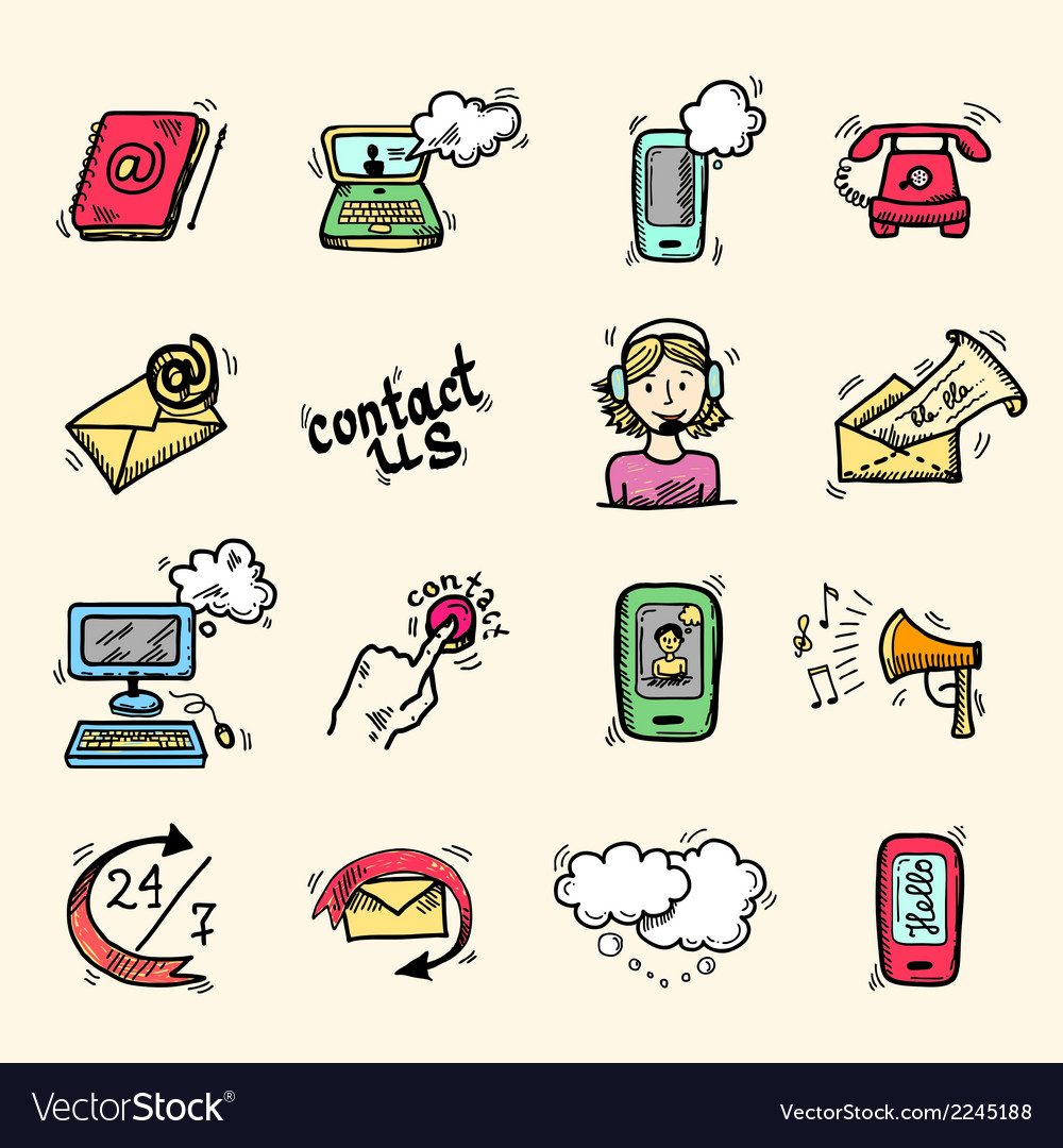 Contact us icons sketch vector | Price: 1 Credit (USD $1)