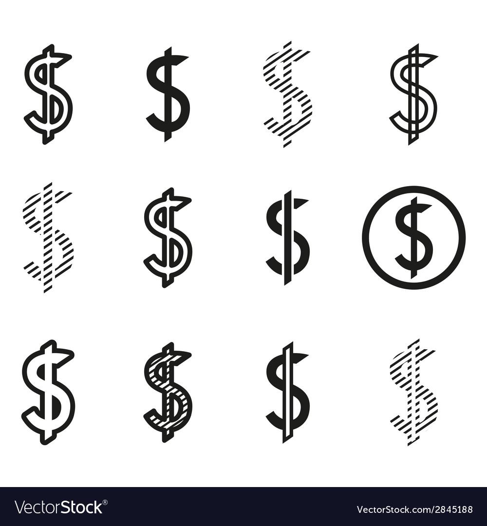 Dollars sign icon set dollar logo template vector   Price: 1 Credit (USD $1)
