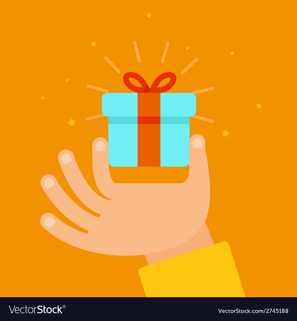 Hand giving present in flat style vector | Price: 1 Credit (USD $1)