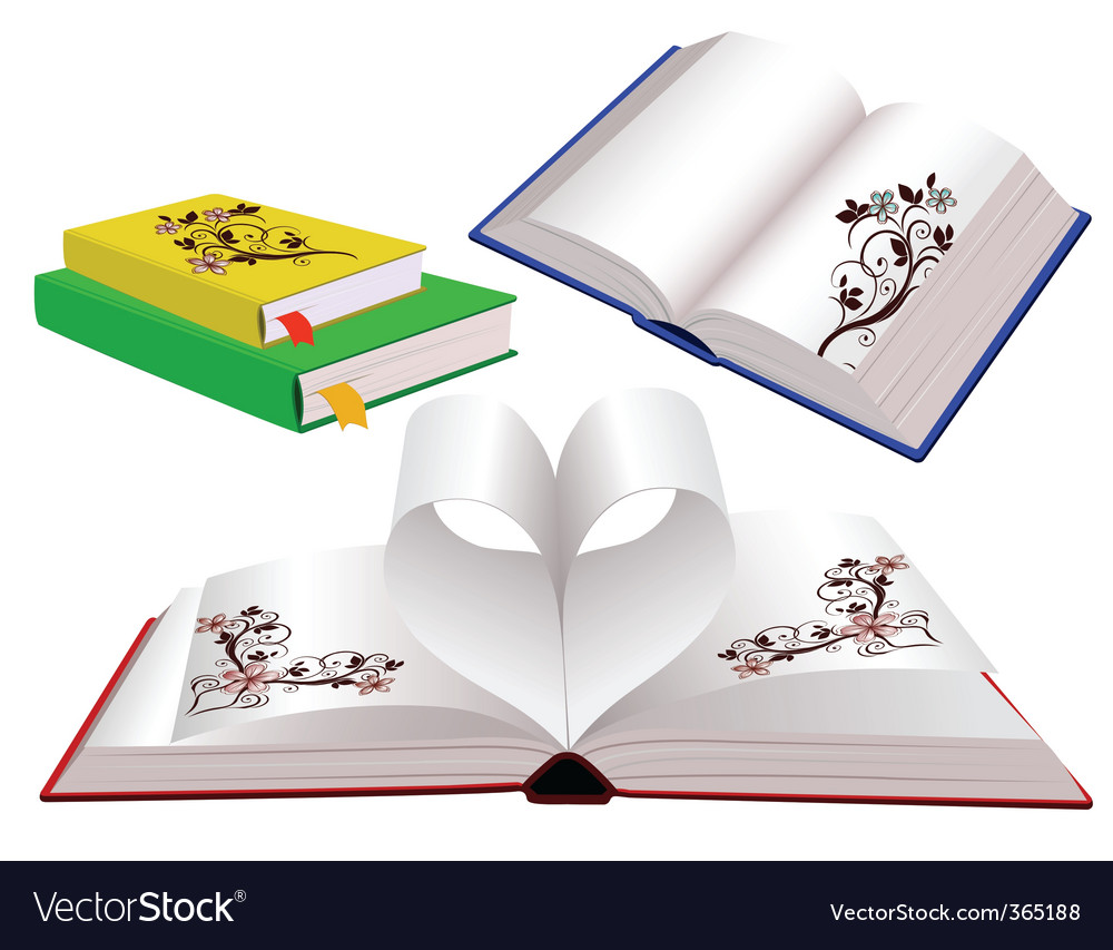 Set of books with ornaments vector   Price: 1 Credit (USD $1)