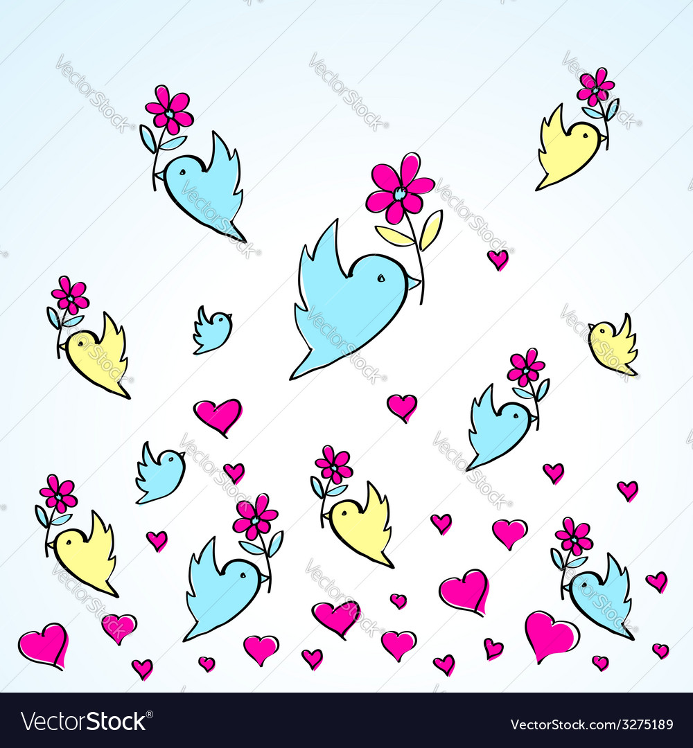 Birds and flowers heart love fly group vector | Price: 1 Credit (USD $1)