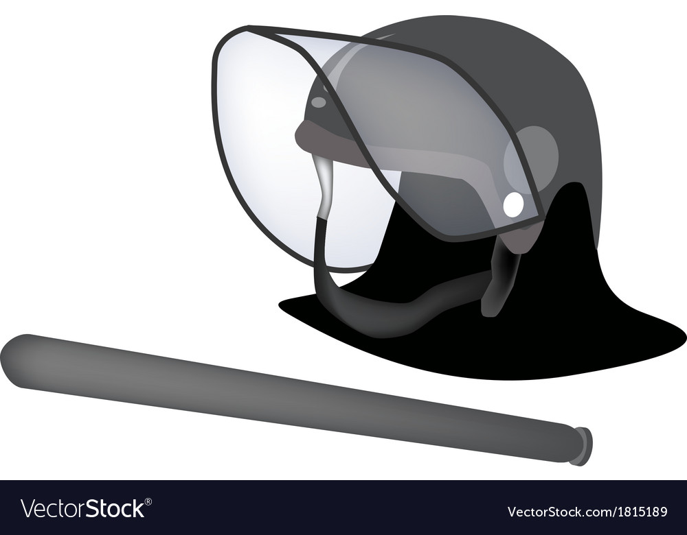 Police helmet and nightstick on white background vector | Price: 1 Credit (USD $1)
