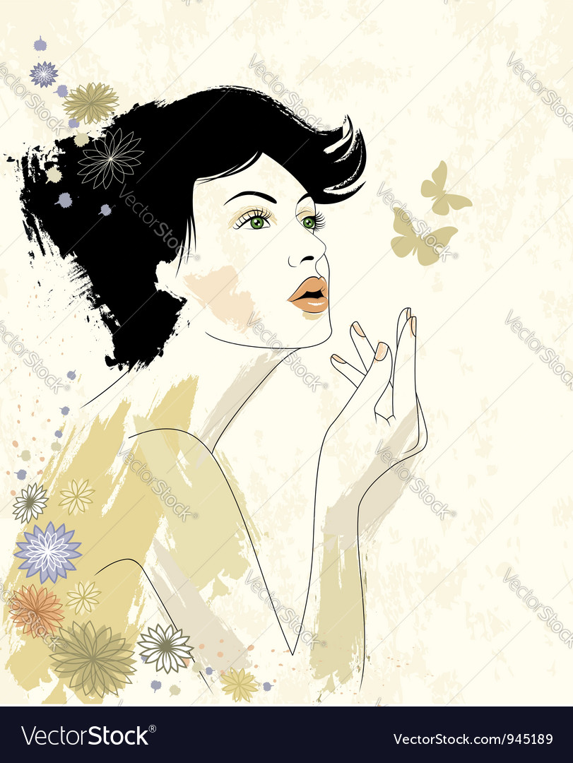 Young beautiful woman vector | Price:  Credit (USD $)
