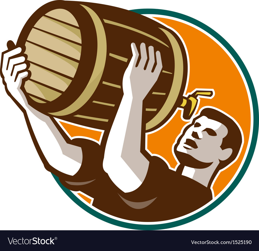 Bartender pouring drinking keg barrel beer retro vector | Price: 1 Credit (USD $1)
