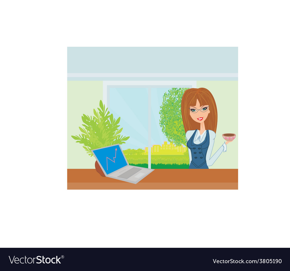 Beautiful secretary working with computer vector | Price: 1 Credit (USD $1)