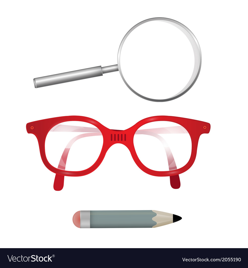 Glasses pencil magnifying glass isolated on white vector   Price: 1 Credit (USD $1)