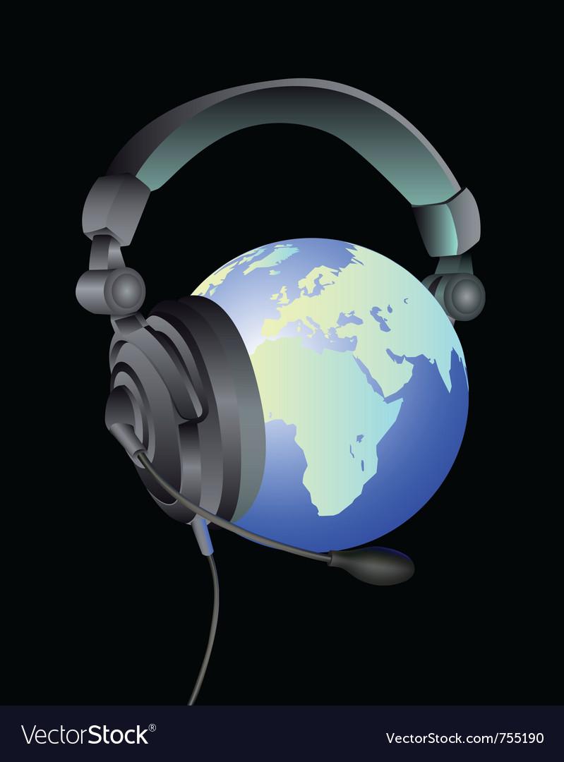 Globe headphones vector | Price: 1 Credit (USD $1)