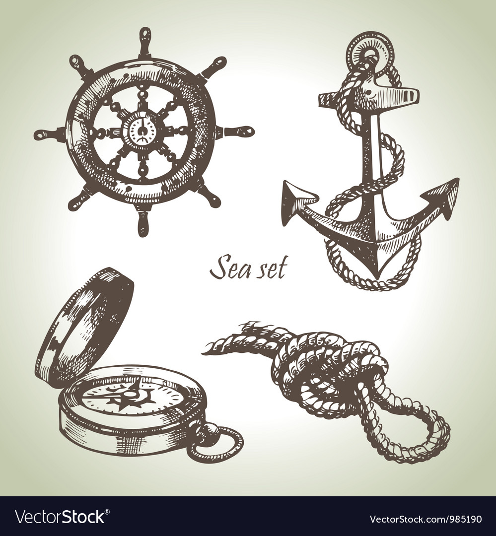 Sea set of nautical design elements vector | Price: 1 Credit (USD $1)