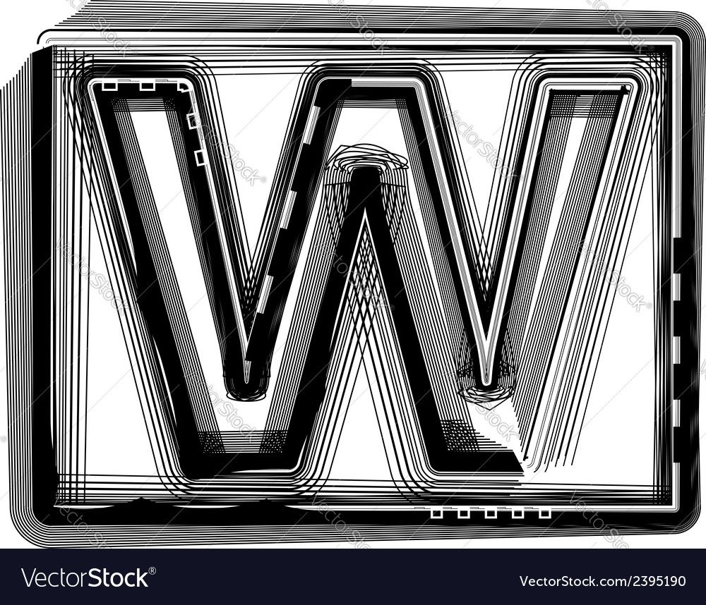 Striped font letter w vector | Price: 1 Credit (USD $1)