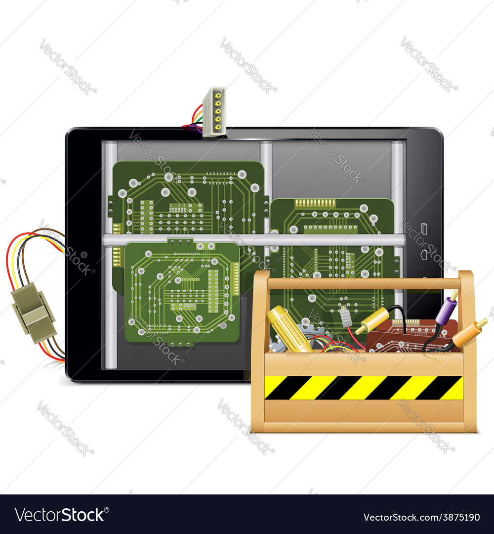 Tablet pc with toolbox vector | Price: 3 Credit (USD $3)