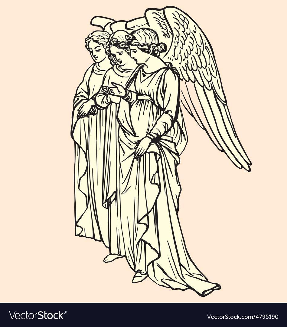 Vintage of angels vector | Price: 1 Credit (USD $1)