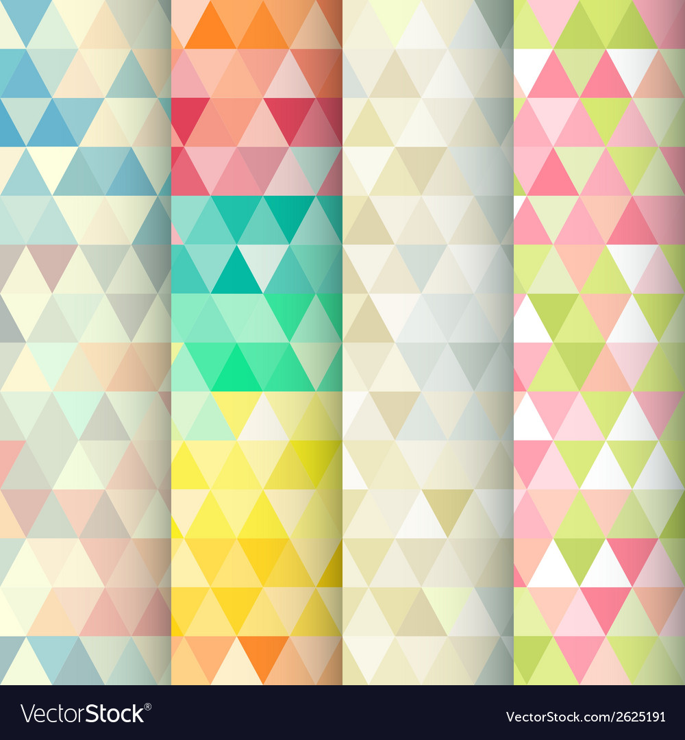 Abstract geometric triangle seamless patterns set vector | Price: 1 Credit (USD $1)