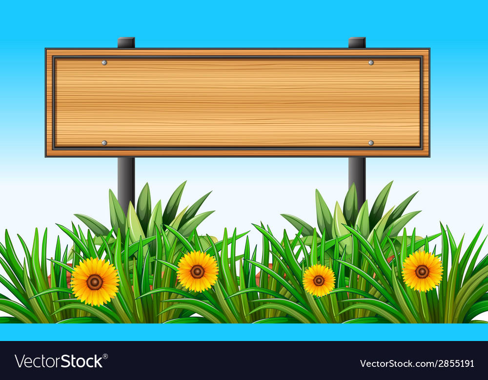 An empty wooden signboard at the garden vector | Price: 1 Credit (USD $1)