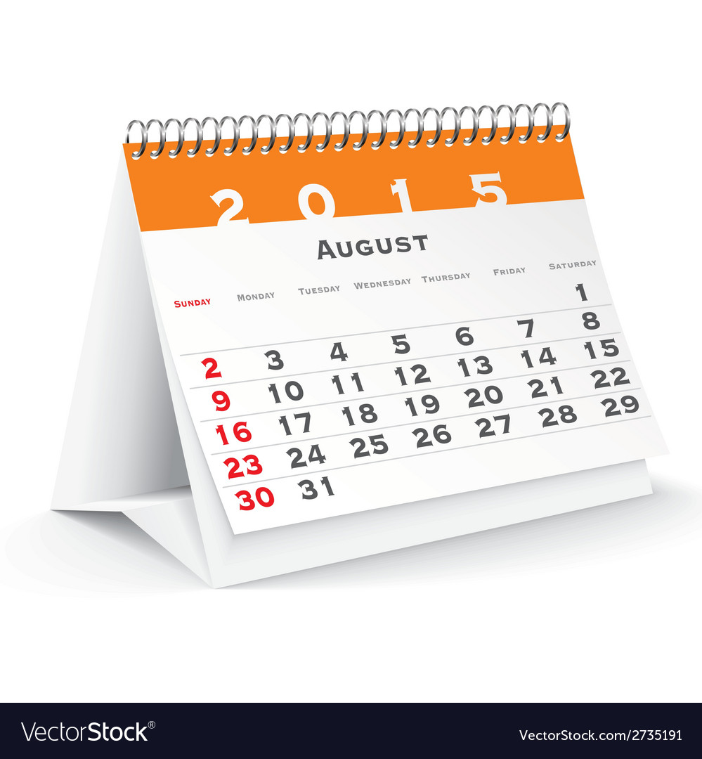August 2015 desk calendar - vector | Price: 1 Credit (USD $1)