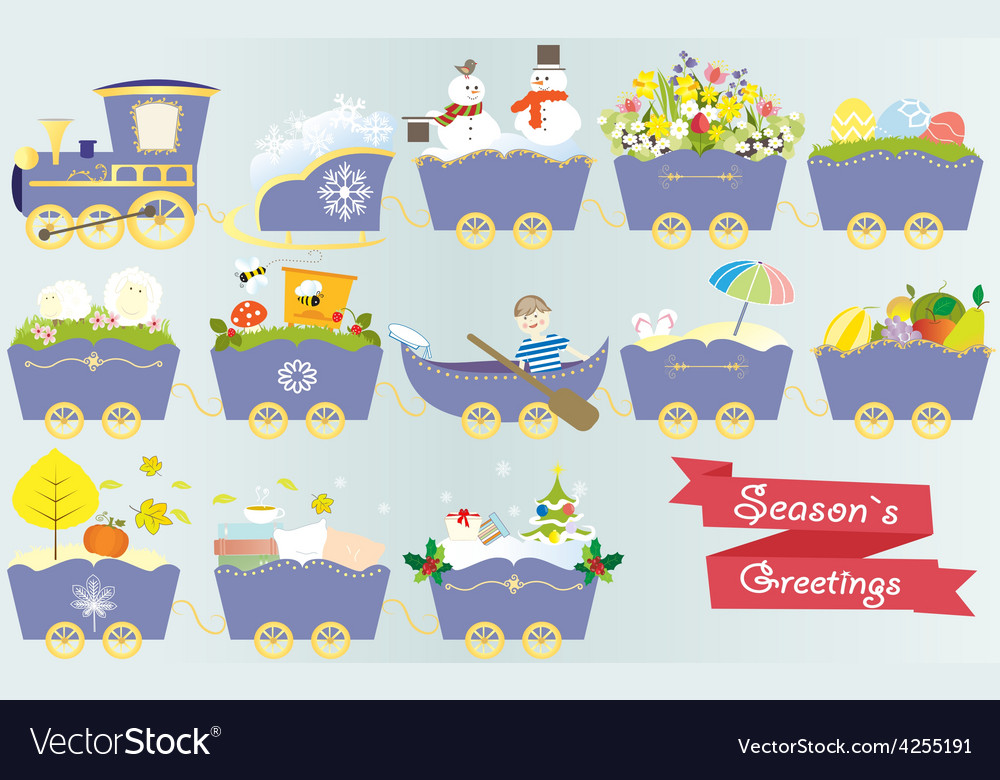 Cartoon train calendar season year nature spring vector | Price: 1 Credit (USD $1)
