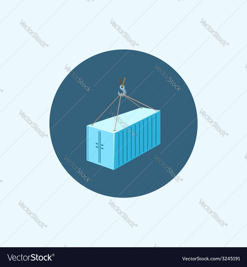 Icon with colored container with crane vector | Price: 1 Credit (USD $1)