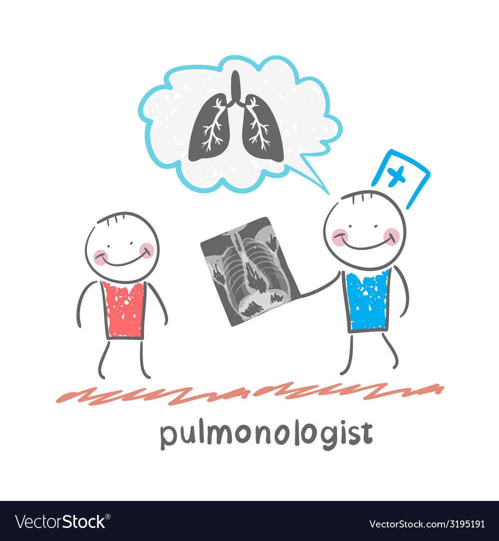 Pulmonologist chest x-ray shows a patient vector | Price: 1 Credit (USD $1)
