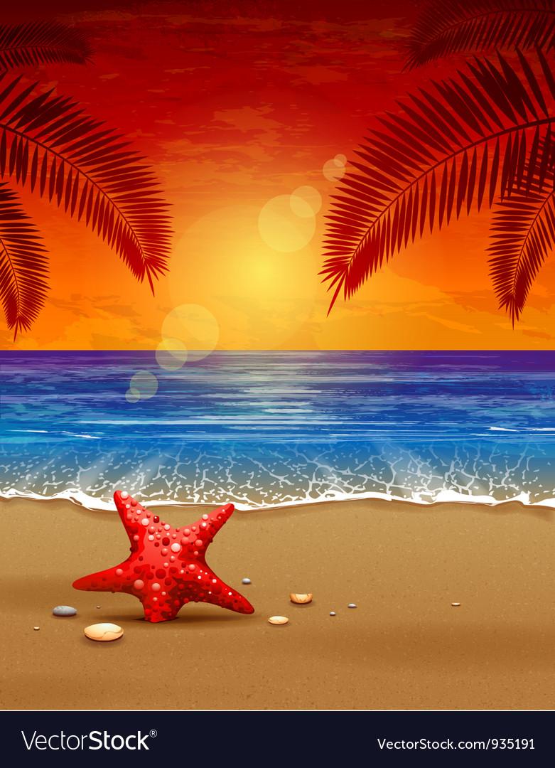 Sea sunset vector | Price: 3 Credit (USD $3)