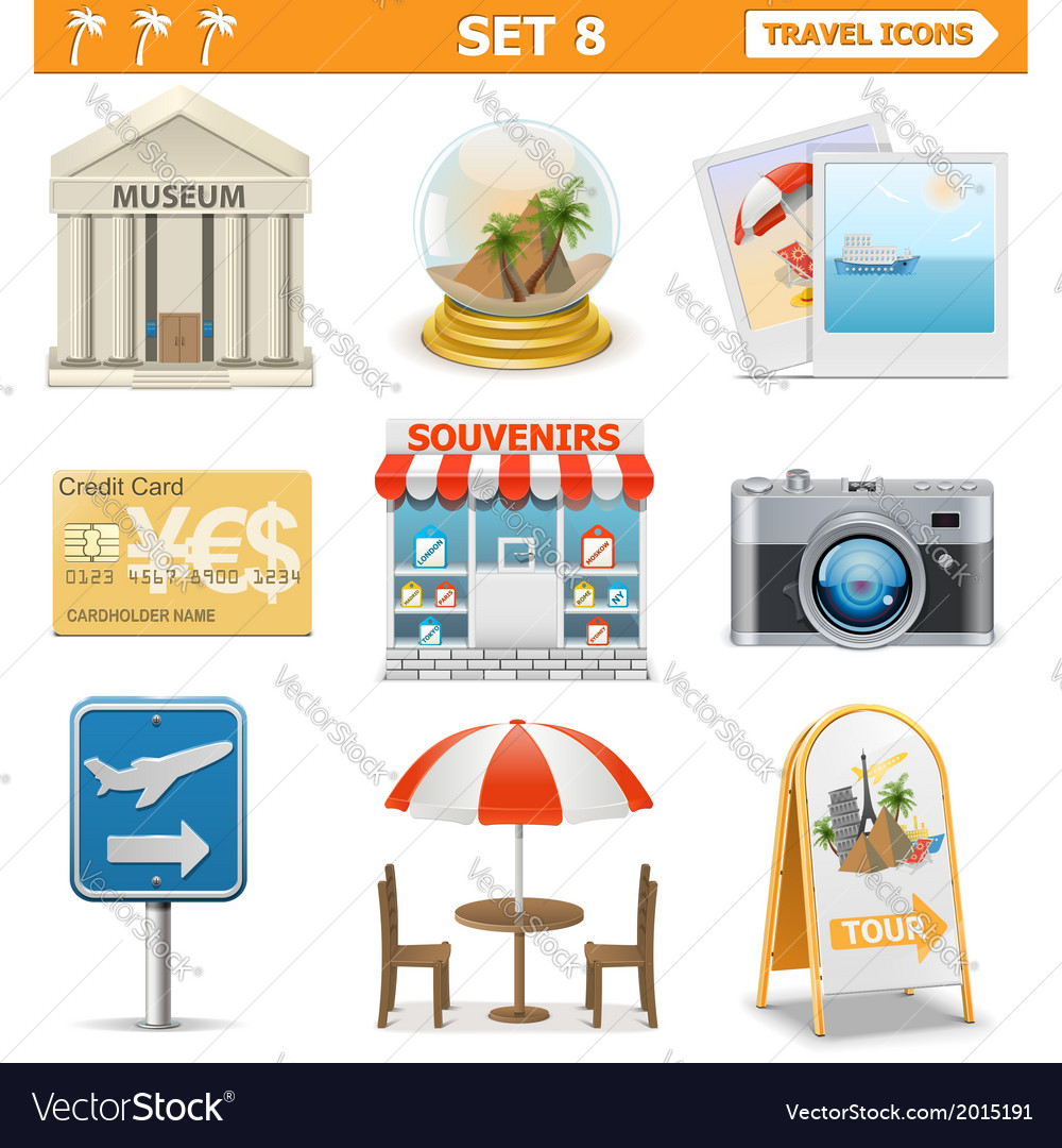Travel icons set 8 vector | Price: 1 Credit (USD $1)