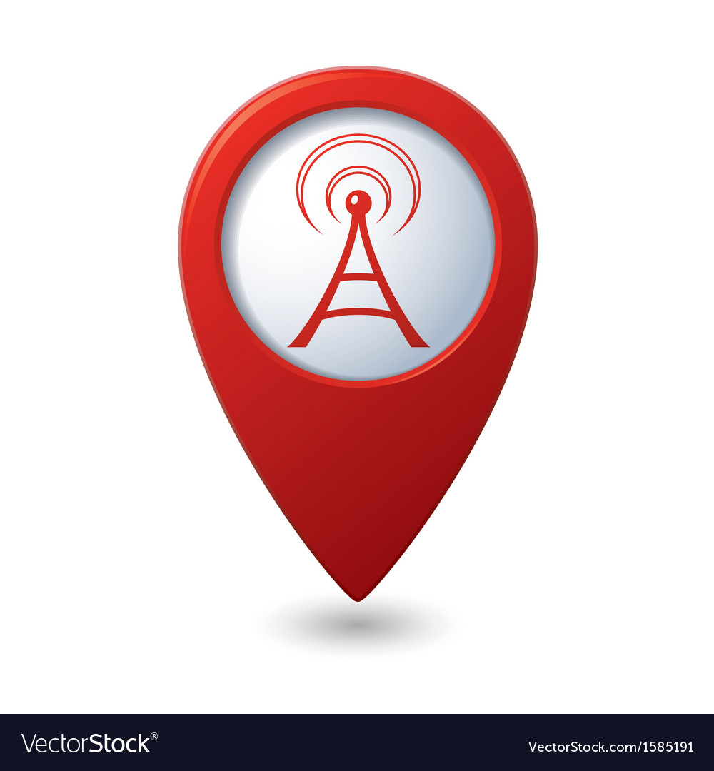Wi fi icon red map pointer vector | Price: 1 Credit (USD $1)