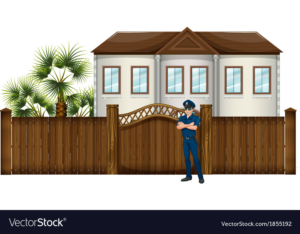 A policeman in front of the house vector | Price: 1 Credit (USD $1)