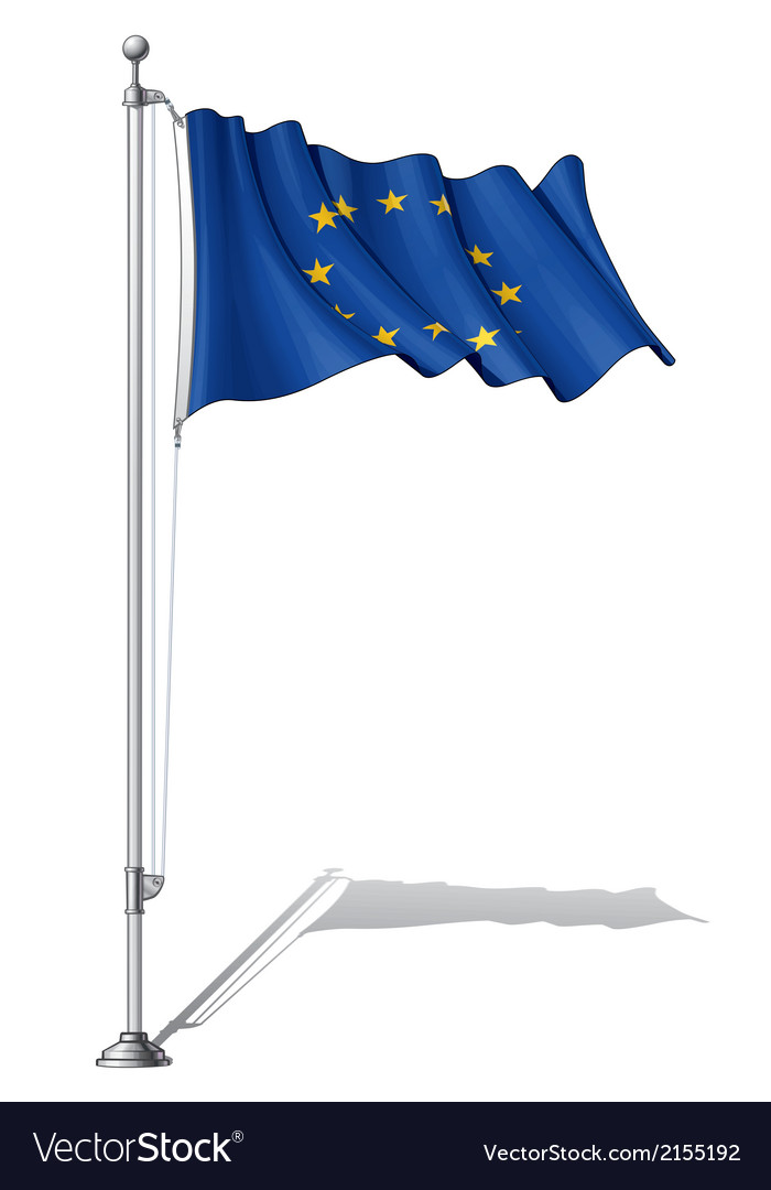 Flag pole european union vector | Price: 1 Credit (USD $1)