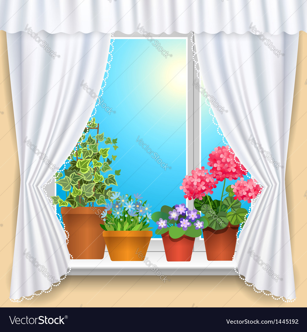 Flowers window vs vector | Price: 1 Credit (USD $1)