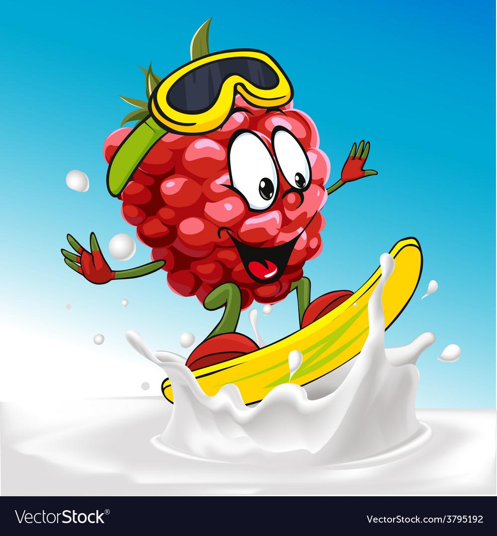 Funny raspberry cartoon surfing on milk splashing vector | Price: 1 Credit (USD $1)