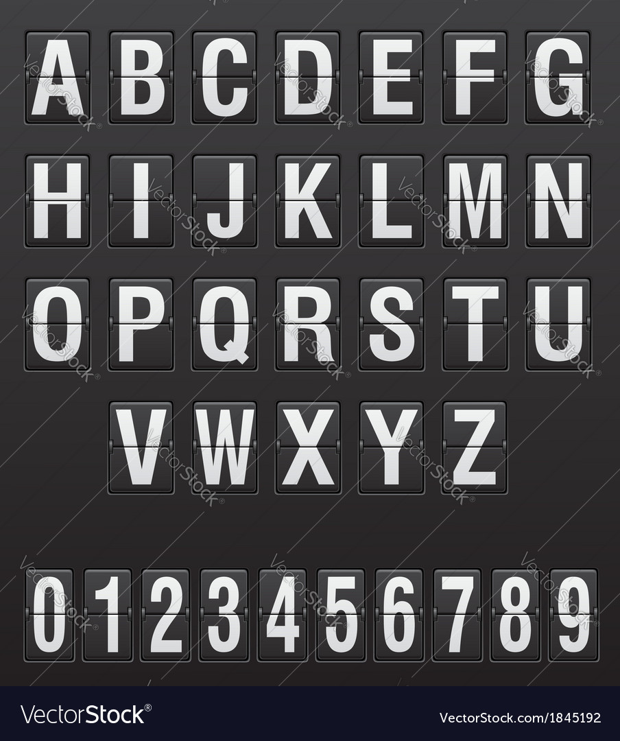 Scoreboard english letters and digits vector | Price: 1 Credit (USD $1)