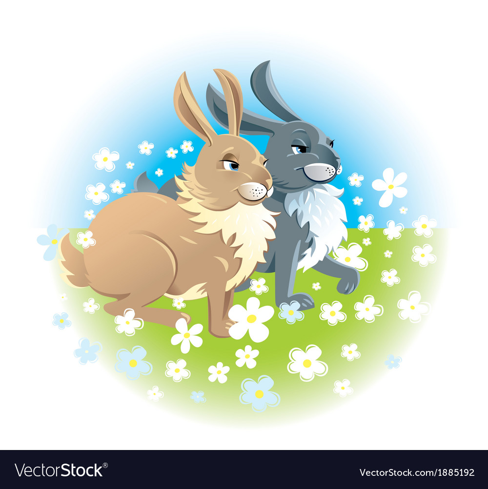 Two happy rabbits vector | Price: 1 Credit (USD $1)
